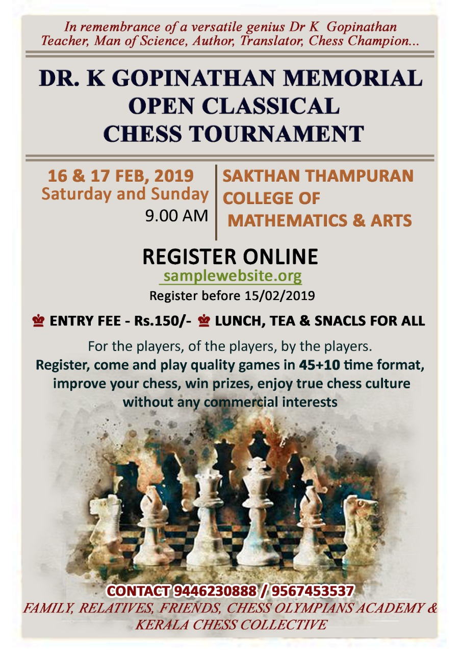 DR. K GOPINATHAN MEMORIAL OPEN CLASSICAL CHESS TOURNAMENT