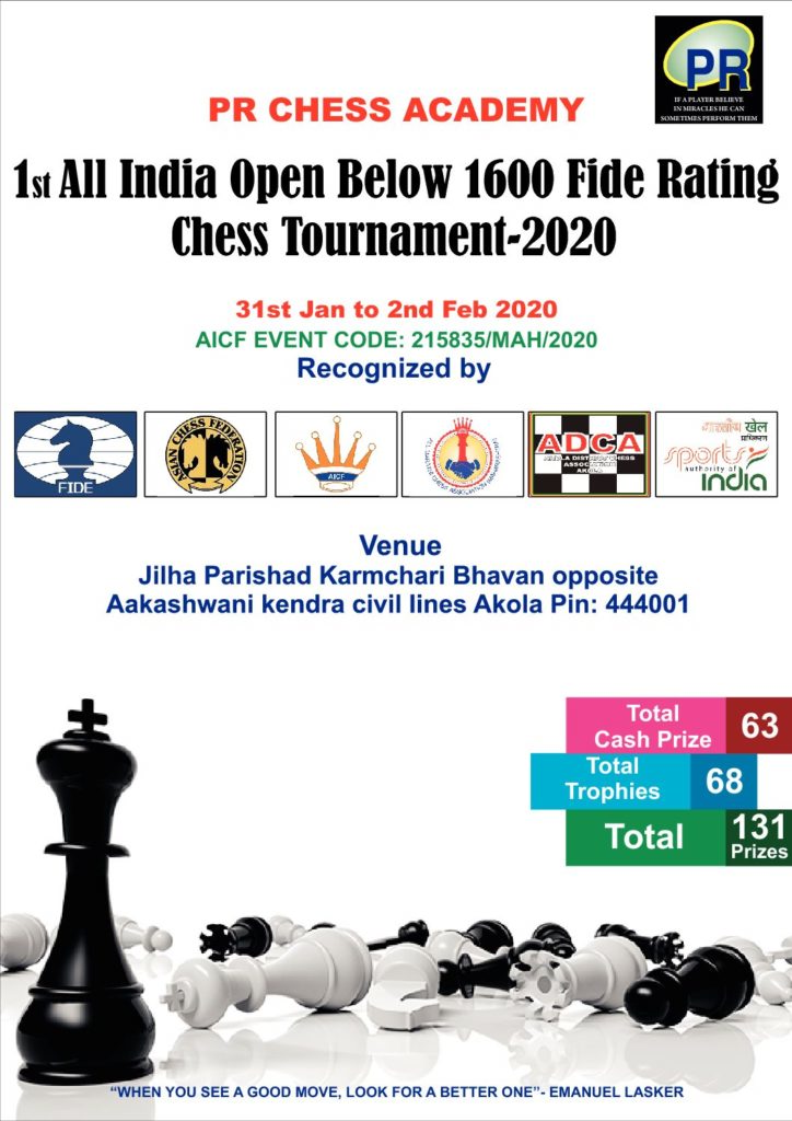 PR CHESS ACADEMY 1st All India Open FIDE Rating Chess Tournament-2019