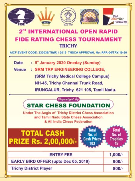 2nd INTERNATIONAL OPEN RAPID FIDE RATING CHESS TOURNAMENT TRICHY