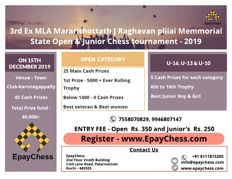 Ex MLA Mararithottath J Raghavan pliiai Memmorial 3rd State Open & Junior Chess tournament – 2019